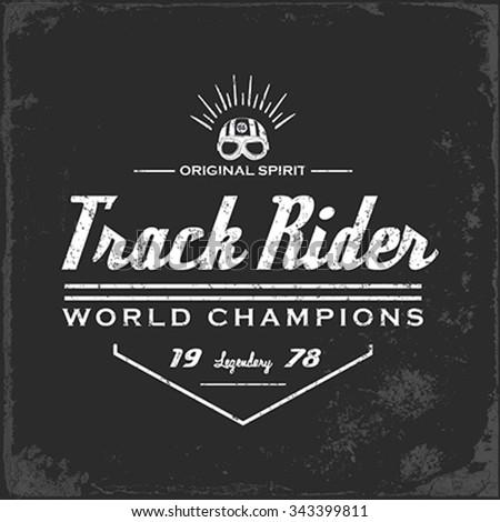 Vintage Motorbike Race | Hand drawing | T-shirt Printing | Badge Applique Label - stock vector