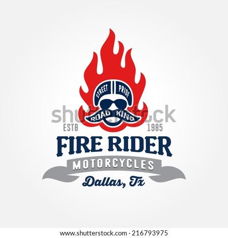 Vintage motorcycle club shop garage or contest apparel design, retro symbol (fire, racer, helmet) - stock vector