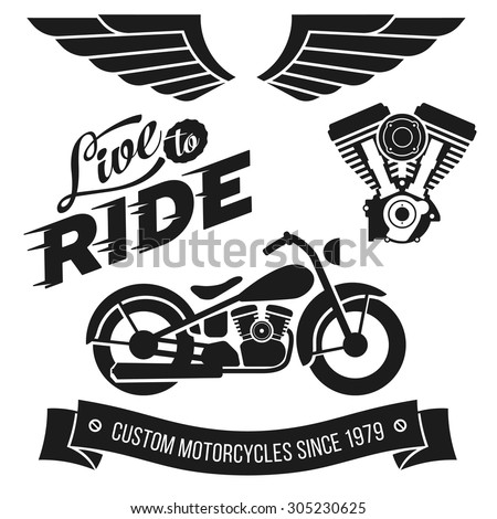Vintage motorcycle design elements collection. Lettering Live To Ride - stock vector