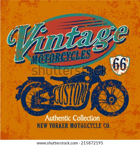 Vintage Motorcycle graphic. Retro bike series. T-Shirt Graphic - stock vector