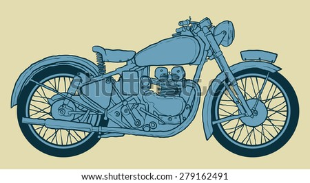 Vintage Motorcycle hand drawn vector