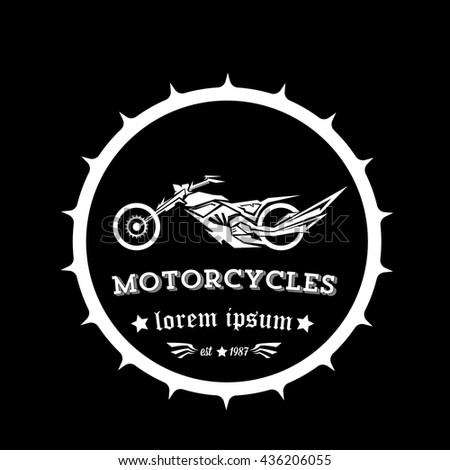 vintage motorcycle label or badge, design element. abstract motorcycle logo with wings
