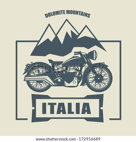 Vintage Motorcycle label, vector illustration - stock vector