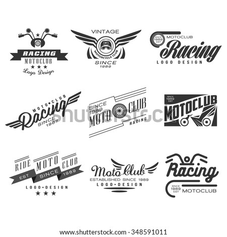 Vintage Motorcycle Labels, Badges, Text and Design Elements. Vector Black and White Collection - stock vector