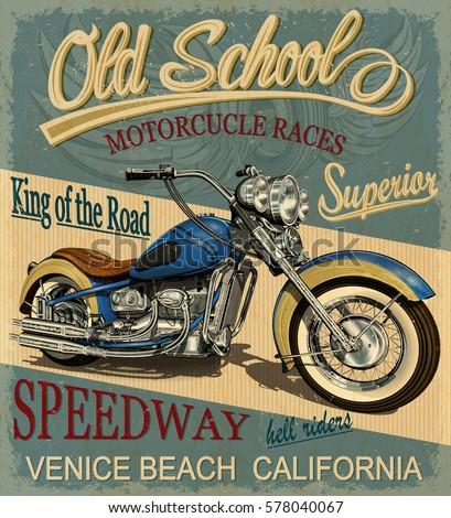 Vintage Motorcycle Poster Tshirt Print Stock Vector 578040067 Shutterstock