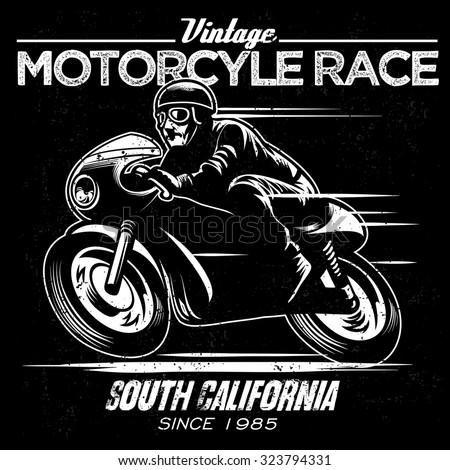 vintage motorcycle race - stock vector