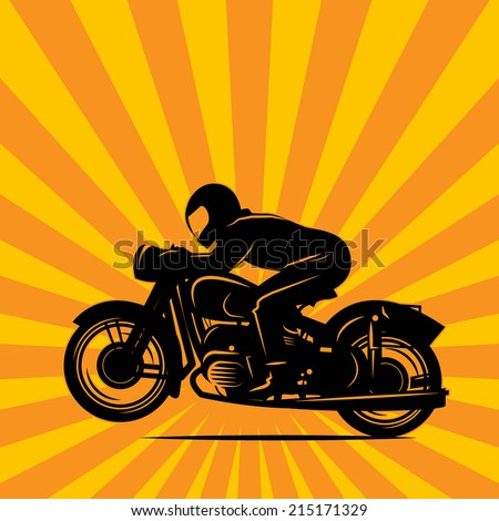 Vintage Motorcycle race background, vector illustration - stock vector