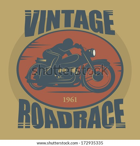 Vintage Motorcycle sport label, vector illustration - stock vector