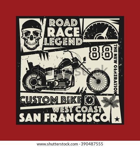 Vintage Motorcycle sport label, vector illustration - stock vector