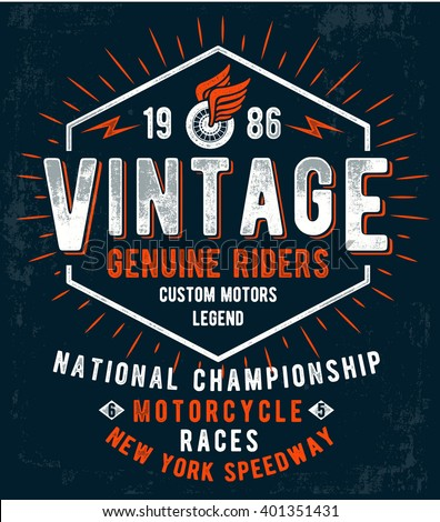Vintage motorcycle typography, t-shirt graphics. Vectors - stock vector