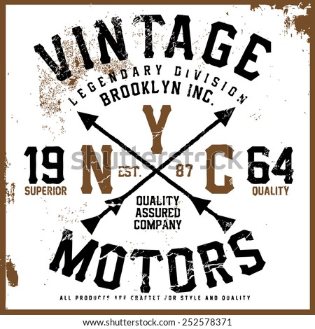 vintage motors tee graphic - stock vector