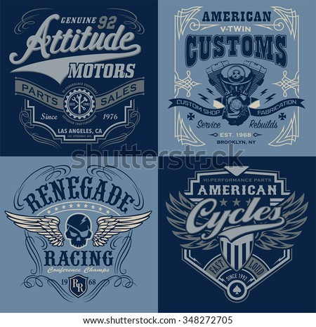 Vintage motorsport emblem graphic set - stock vector