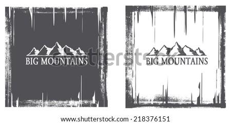 vintage mountains grunge frame - stock vector