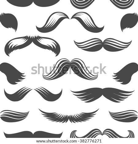 Vintage moustaches seamless pattern. Black and white background. Vector illustration