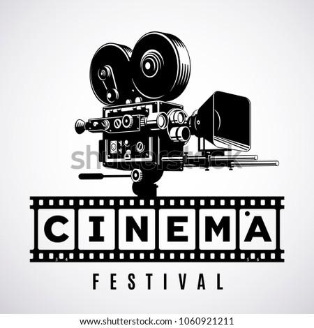 Vintage movie camera film strip logo stock vector for Camera film logo