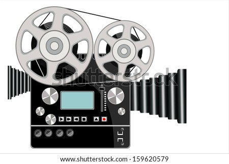 Vintage movie camera isolated on white - stock vector