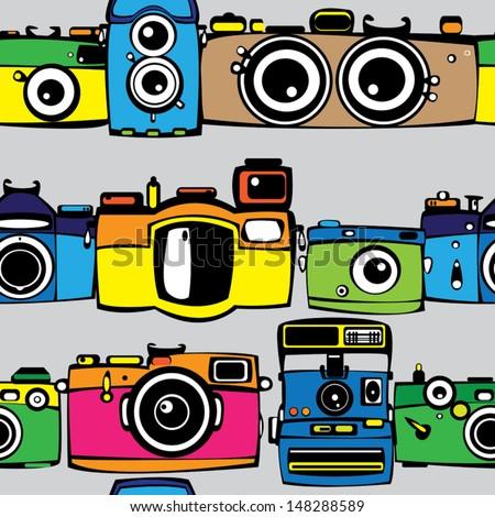vintage multicolor film photo cameras seamless pattern  - stock vector