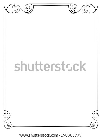 Vintage multilayer vertical vector frame with swirls - stock vector