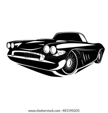 Vintage muscle car. Vector abstract old school retro vehicle.