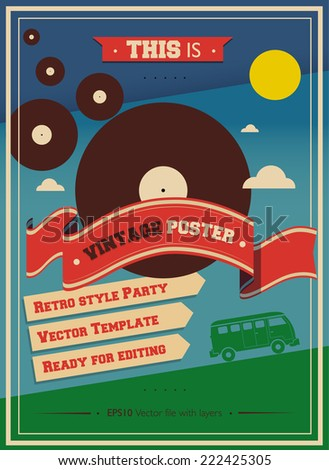 Vintage Music Retro Hippie Cocktail Party Poster Vector design template - stock vector