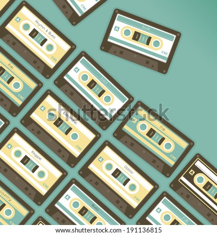 Vintage music stereo cassettes with all of genres. Idea - Music party, Cloud multimedia library, Radio - stock vector