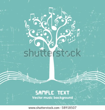 Vintage music tree - Retro design - stock vector