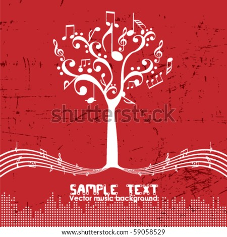 Vintage music tree - Retro design - stock vector