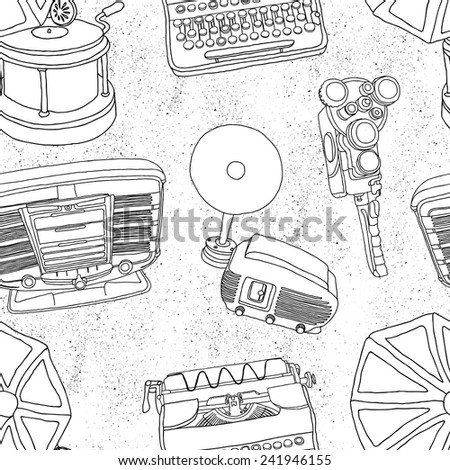 Vintage musical and photo equipment seamless vector pattern on grungy background.