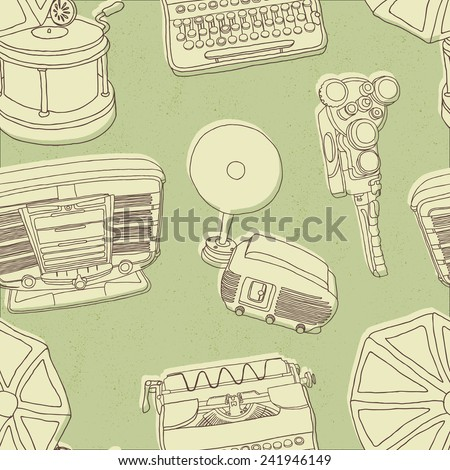 Vintage musical and photo equipment seamless vector pattern on grungy green background. - stock vector