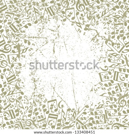 Vintage musical background with notes and grunge texture, vector illustration. - stock vector