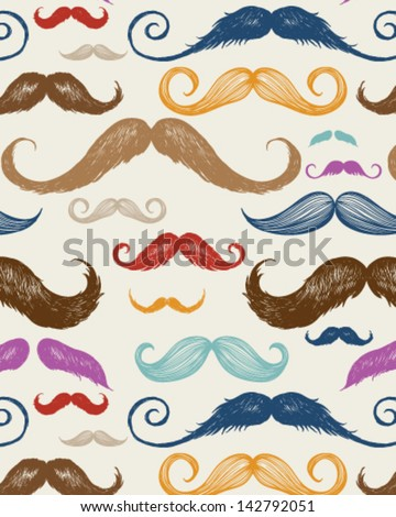 Vintage Mustache Seamless Pattern - stock vector