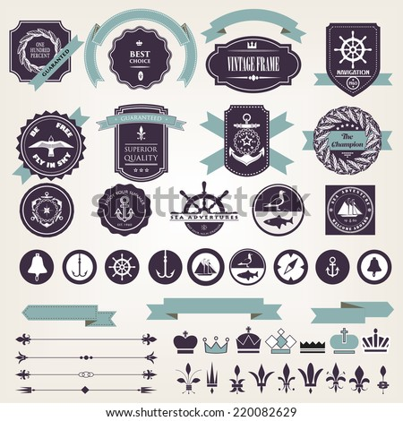 Vintage nautical adventure frames and design elements stock vector - stock vector
