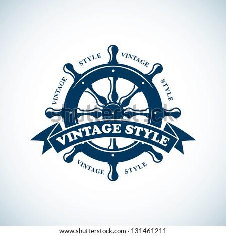 vintage nautical badge - stock vector