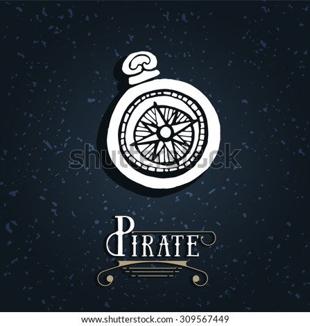 Vintage nautical compass. Symbol of pirates. Icon navigation. Old school design. Calligraphy - stock vector
