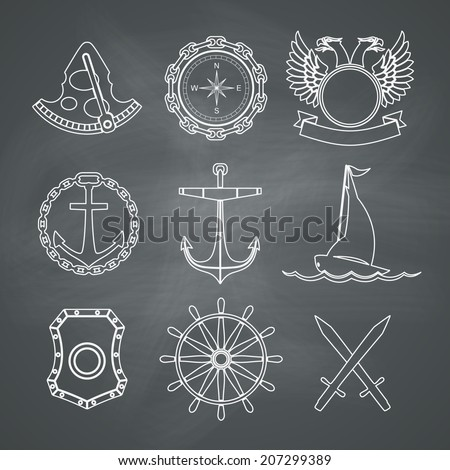 Vintage nautical labels, icons and design elements. Vector set on chalkboard background - stock vector