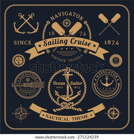 Vintage nautical labels logo set on dark background. Icons and design elements. - stock vector