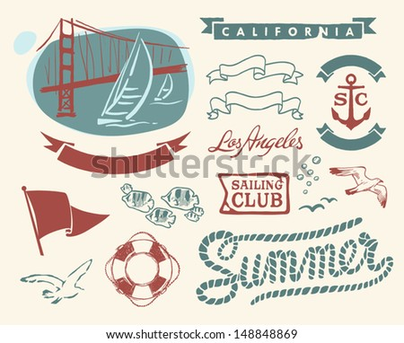Vintage nautical set - stock vector