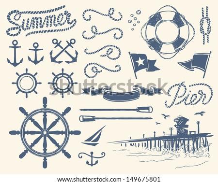 Vintage nautical set - stock vector