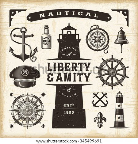 Vintage nautical set. Editable EPS10 vector illustration with transparency. - stock vector