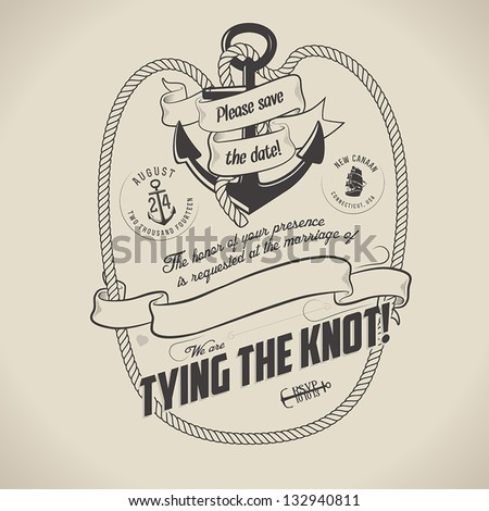 Vintage nautical themed wedding invitation with place for text - stock vector