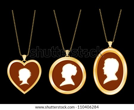 Vintage necklaces family antique gold engraved stock vector vintage necklaces family antique gold engraved jewelry gold chains ivory cameo portrait mozeypictures Gallery