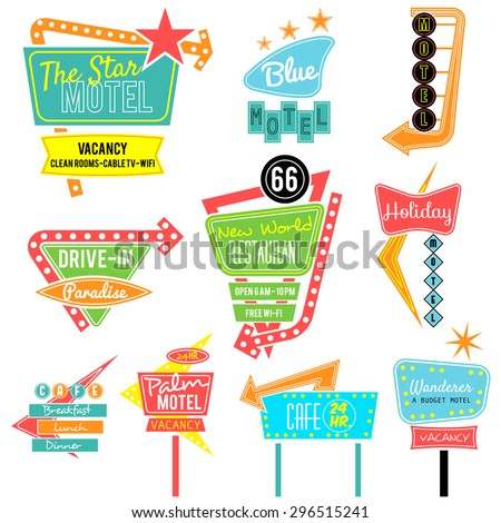 vintage neon sign colorful collection,road trip - stock vector