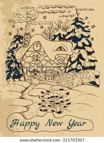 vintage new year card house conifers stock vector 315703307