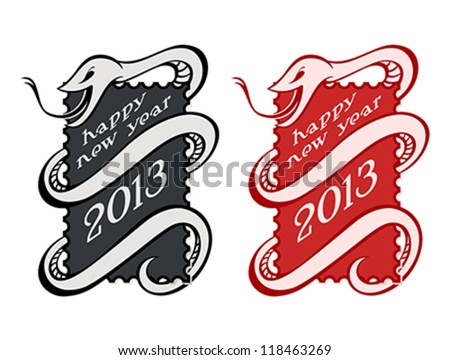 Vintage New Year serpent or snake stamps isolated - stock vector