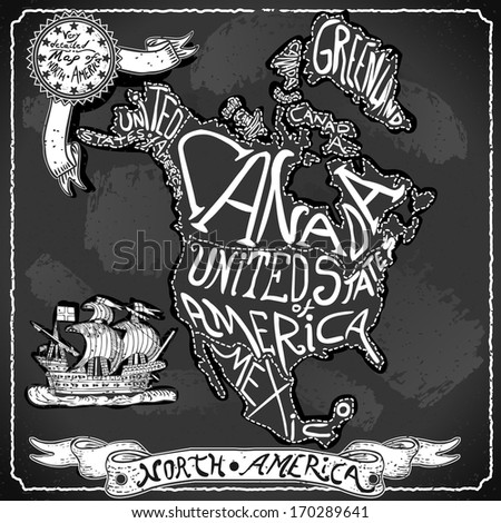 Vintage North America Map Blackboard. Geographic Northern America Chalk Board Map. Retro Vintage typography North America. Chalk Handwriting Northern America Map.Vintage Background Infographic Vector - stock vector