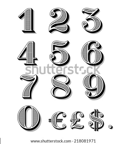 Vintage numbers set including dollar, euro, pound symbols and dot.  - stock vector