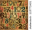 Vintage Numbers - Typographic Background - stock vector
