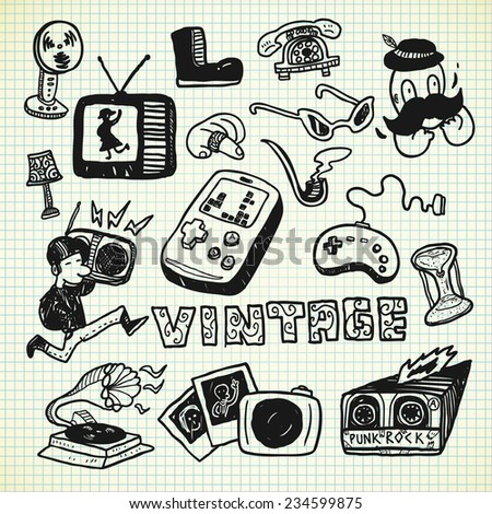 vintage object in doodle style - stock vector