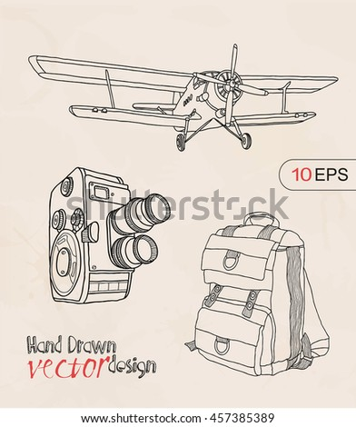 vintage objects - stock vector