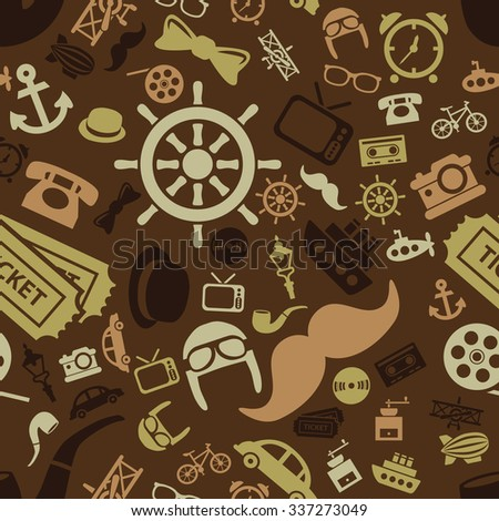 vintage objects seamless pattern - stock vector